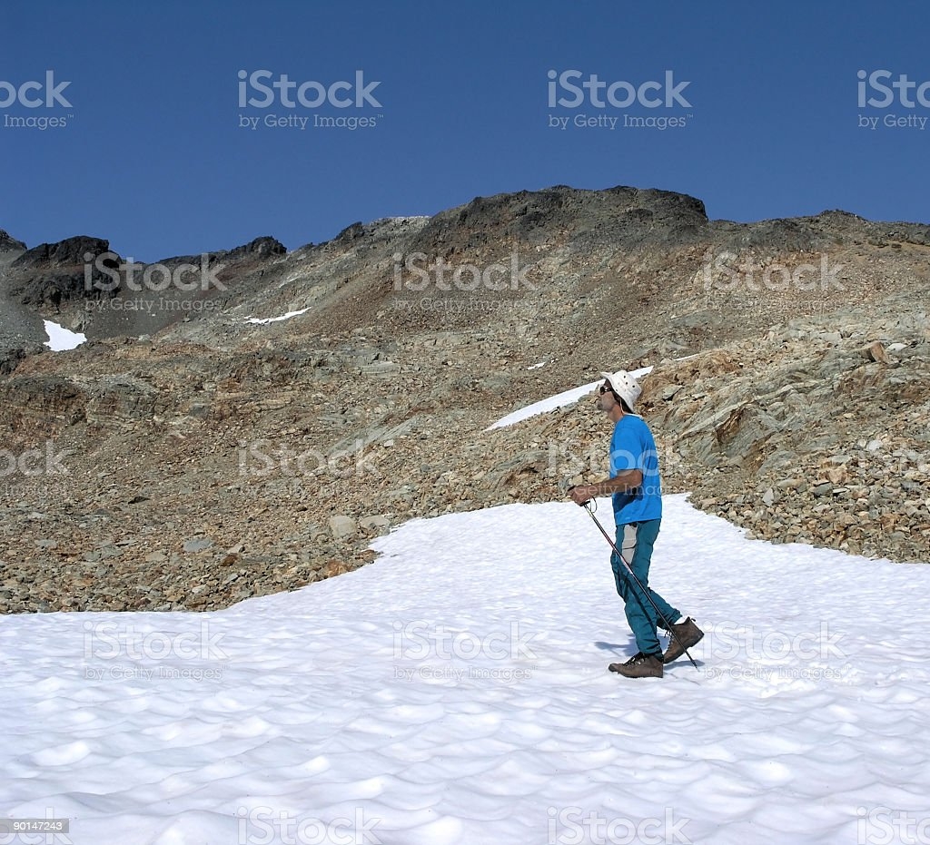 Man Hiking on Snow During Summer royalty-free stock photo