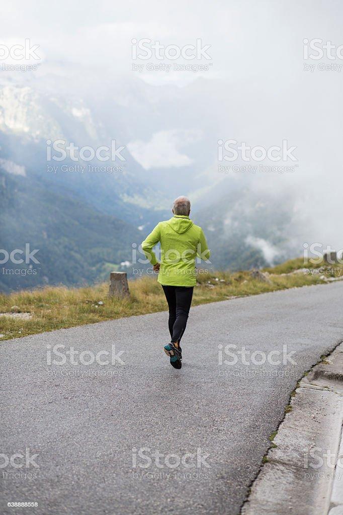 Man hiking stock photo