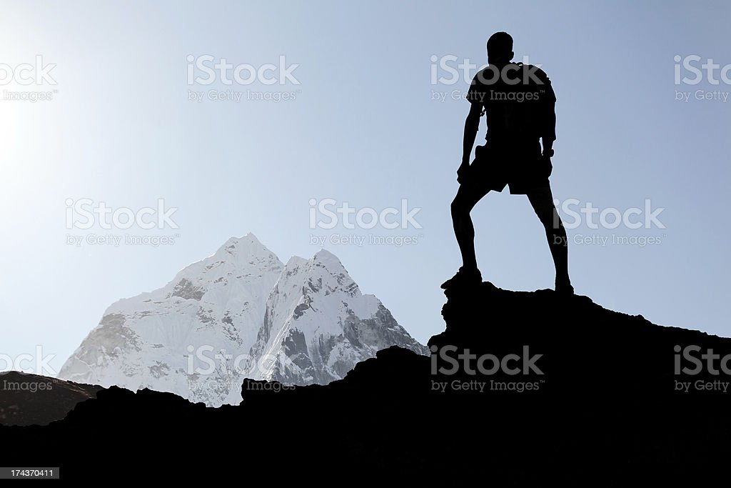 Man hiking silhouette royalty-free stock photo