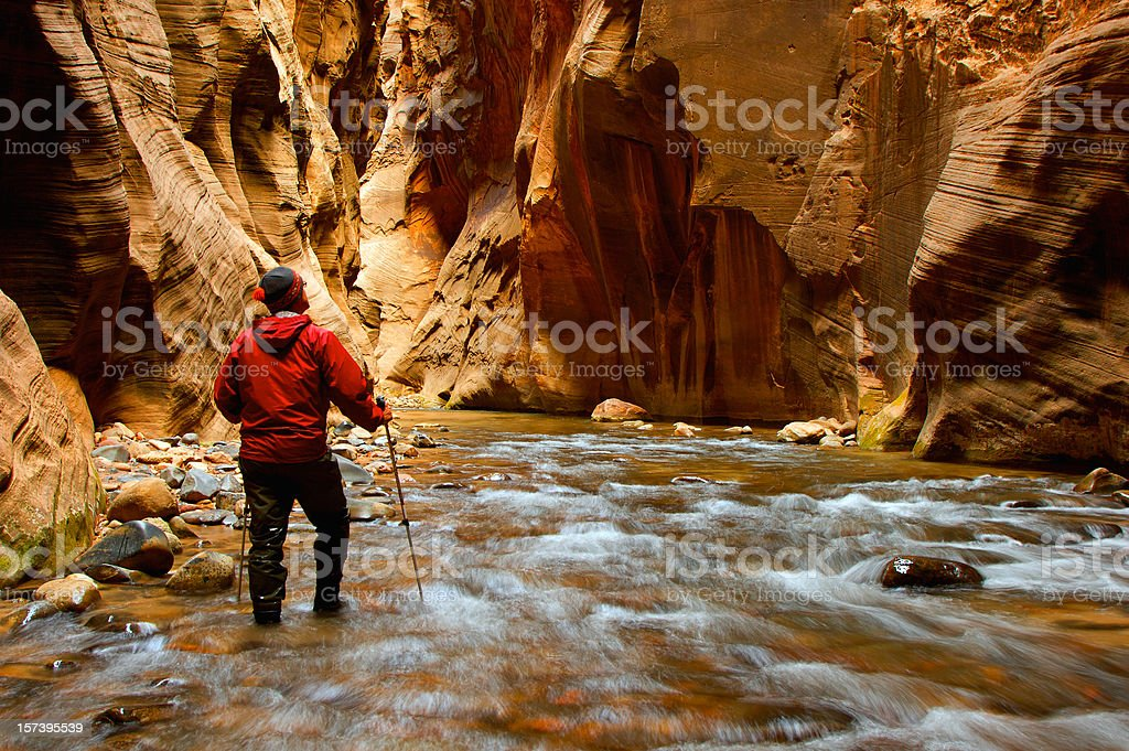 Man Hiking the narrows stock photo