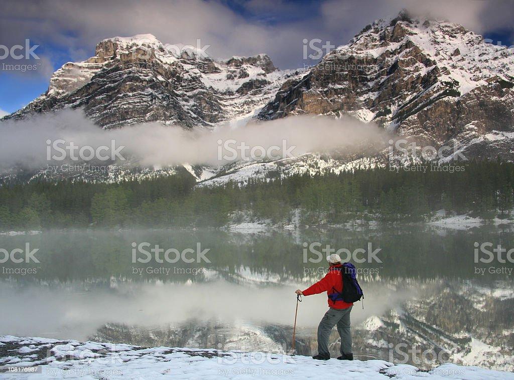Man Hiking Through Mountains royalty-free stock photo