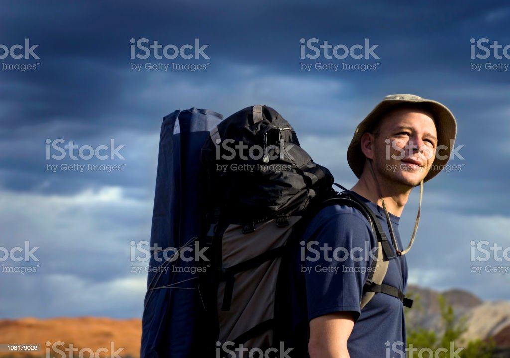 Man Hiking with Large Backpack royalty-free stock photo