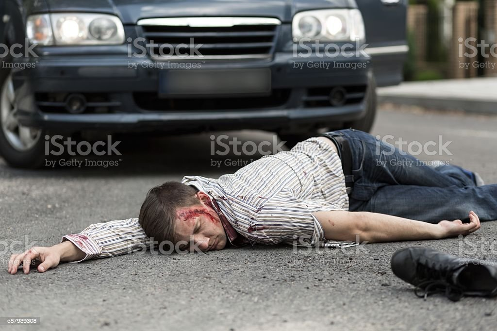 Man hit by a car stock photo