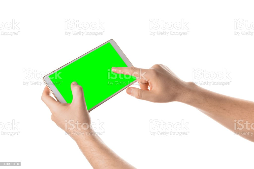 Man hold and touching the blank screen on the white tablet. Isolated on white stock photo
