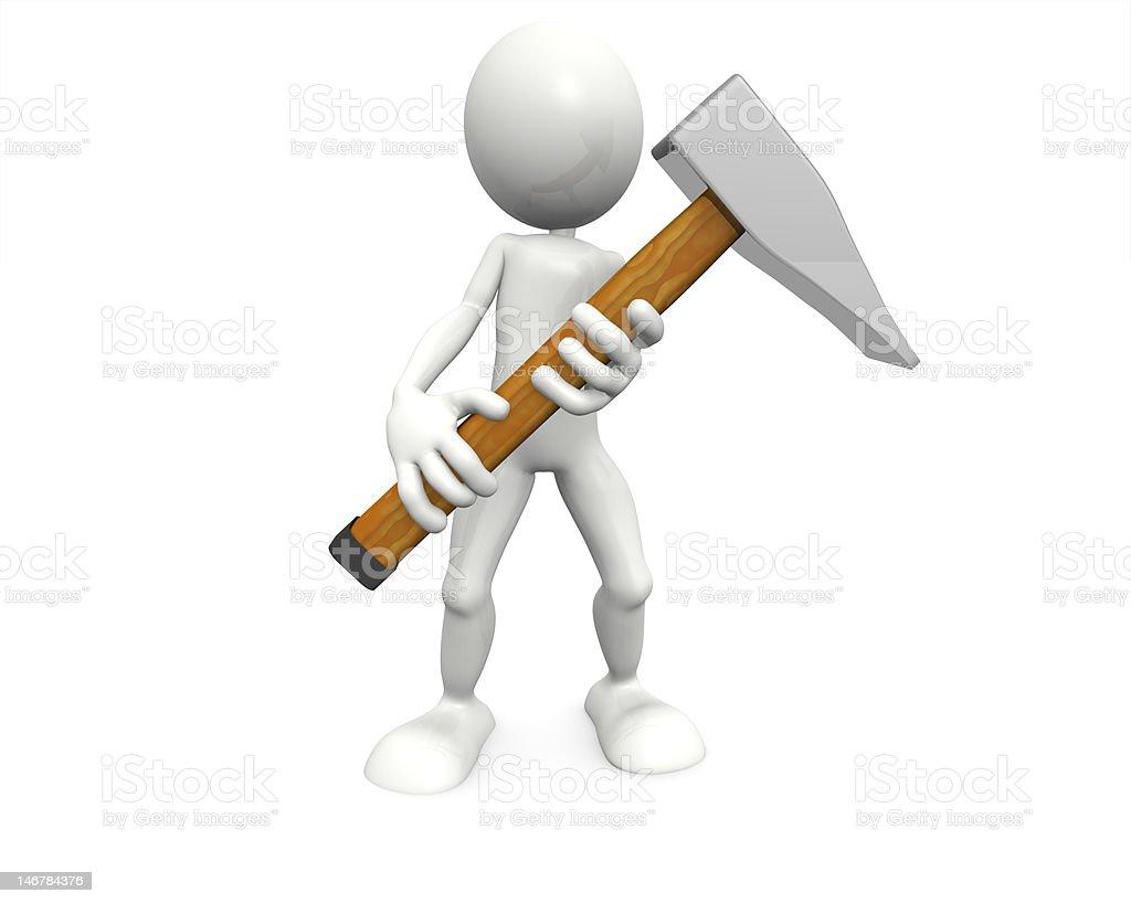 Hombre con martillo de retención foto de stock libre de derechos