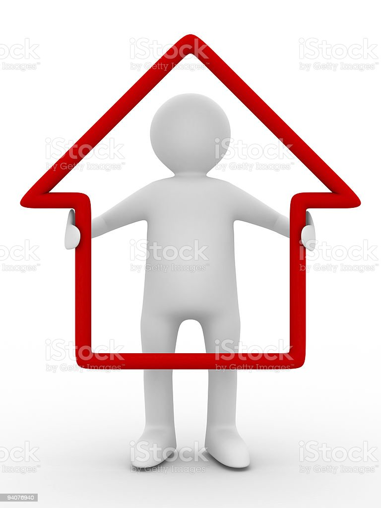man hold house in hands. Isolated 3D image stock photo