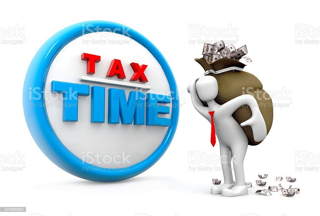 Man hold Money.(tax Time Concept) stock photo