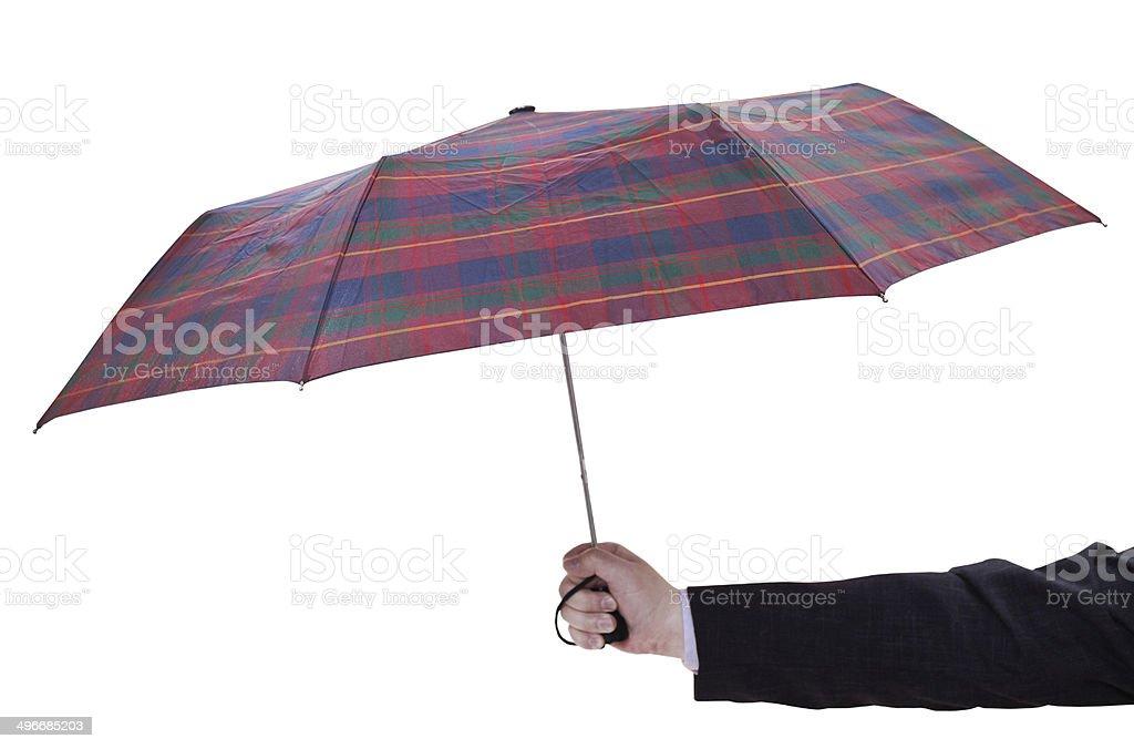 man holdind open checkered umbrella royalty-free stock photo