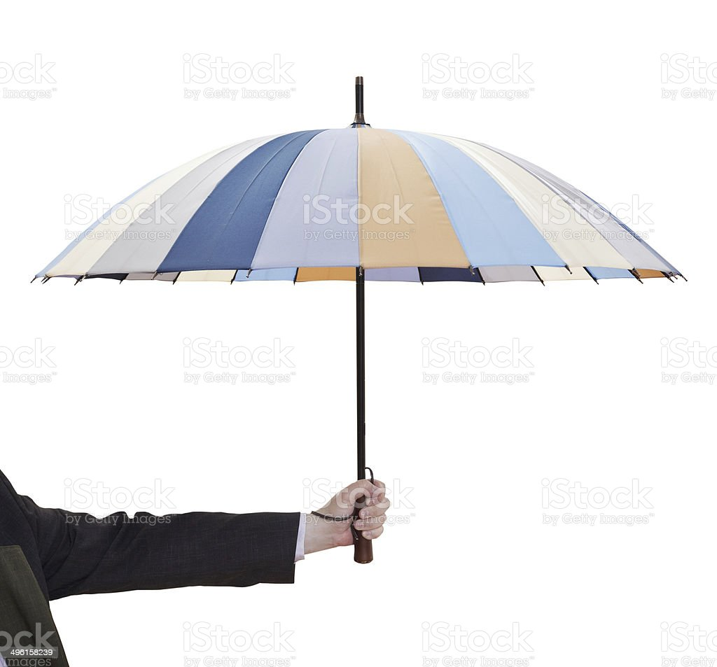 man holdind open striped umbrella royalty-free stock photo