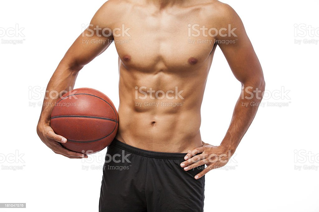 Man holding a basketball ball royalty-free stock photo