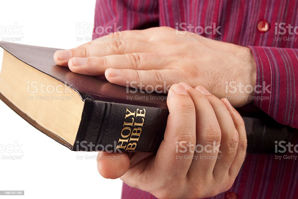 Man Holding a Bible royalty-free stock photo