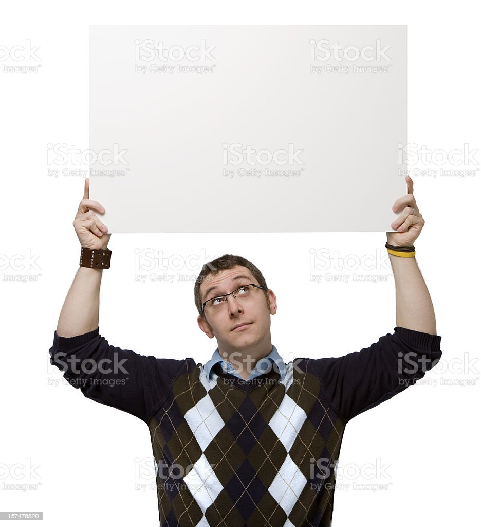 Man holding a blank sign overhead on white background. stock photo