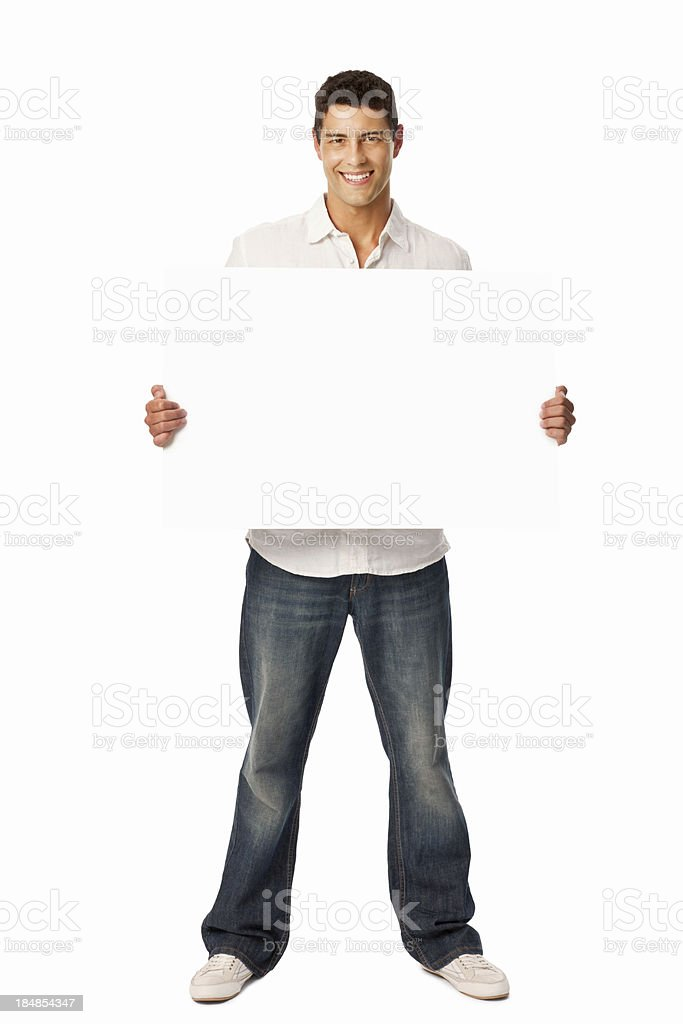 Man Holding a Blank Sign stock photo