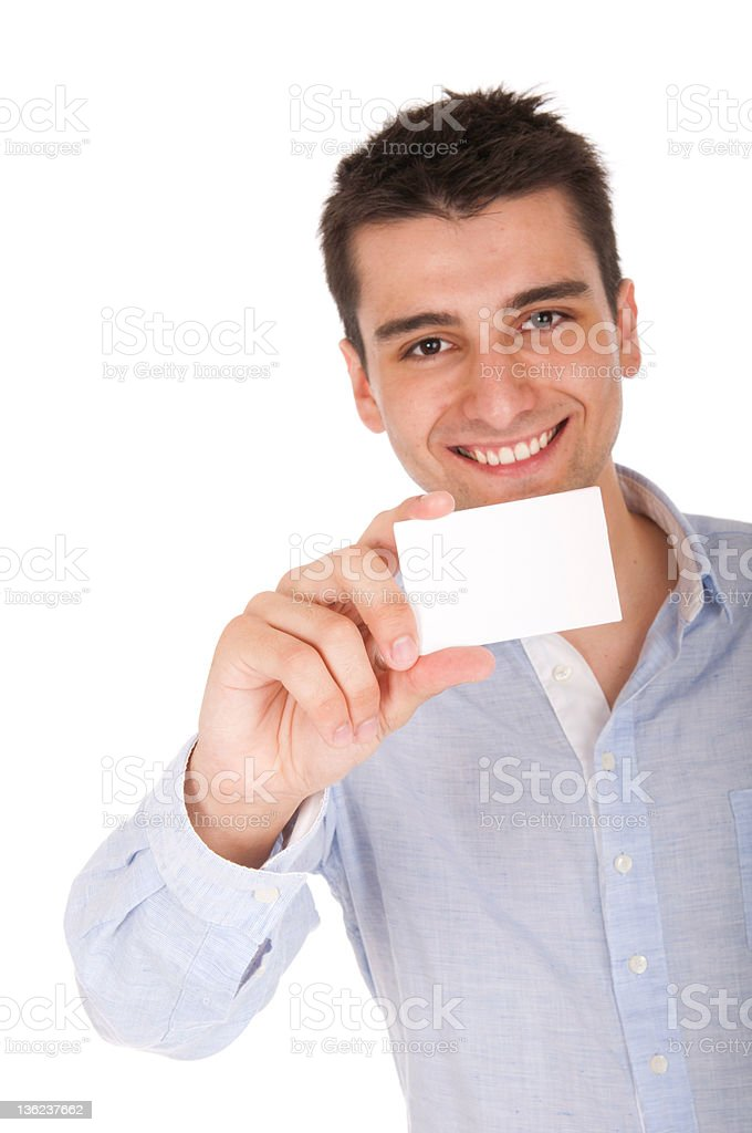 A man holding a blank white business card royalty-free stock photo