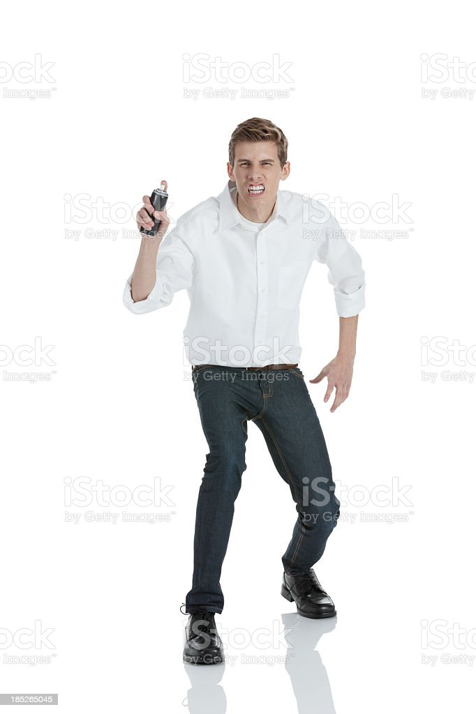 Man holding a can of party string royalty-free stock photo