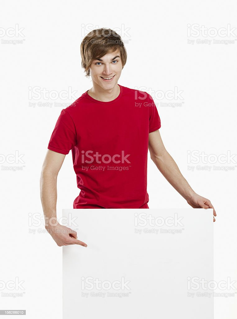 Man holding a cardboard royalty-free stock photo