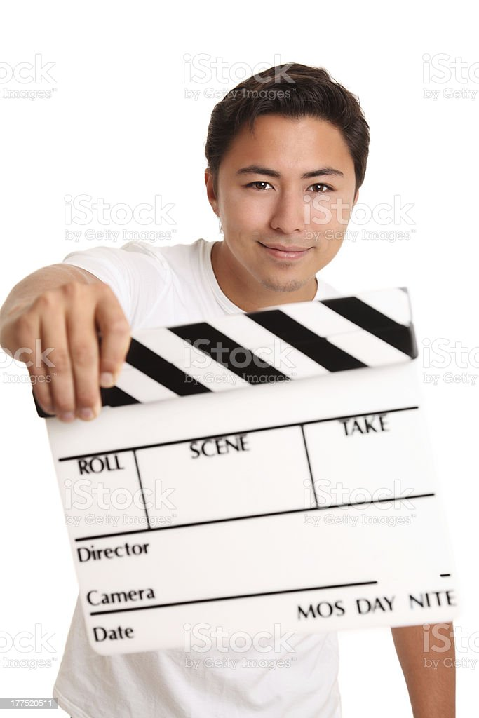 Man holding a film slate royalty-free stock photo