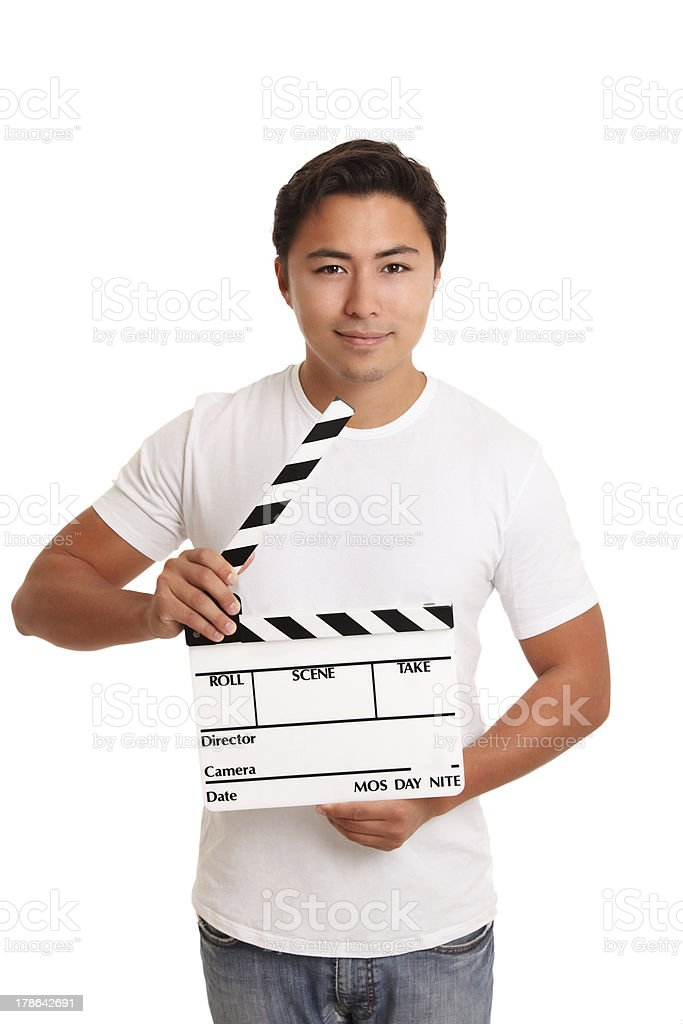 Man holding a film slate royalty-free stock photo