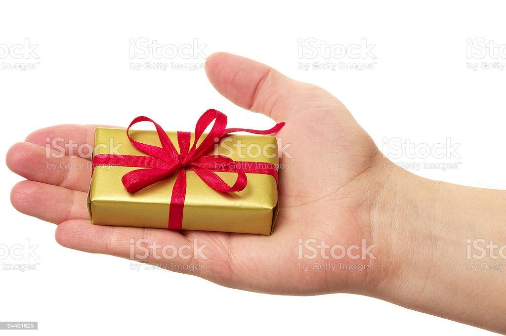 Man holding a gift box royalty-free stock photo