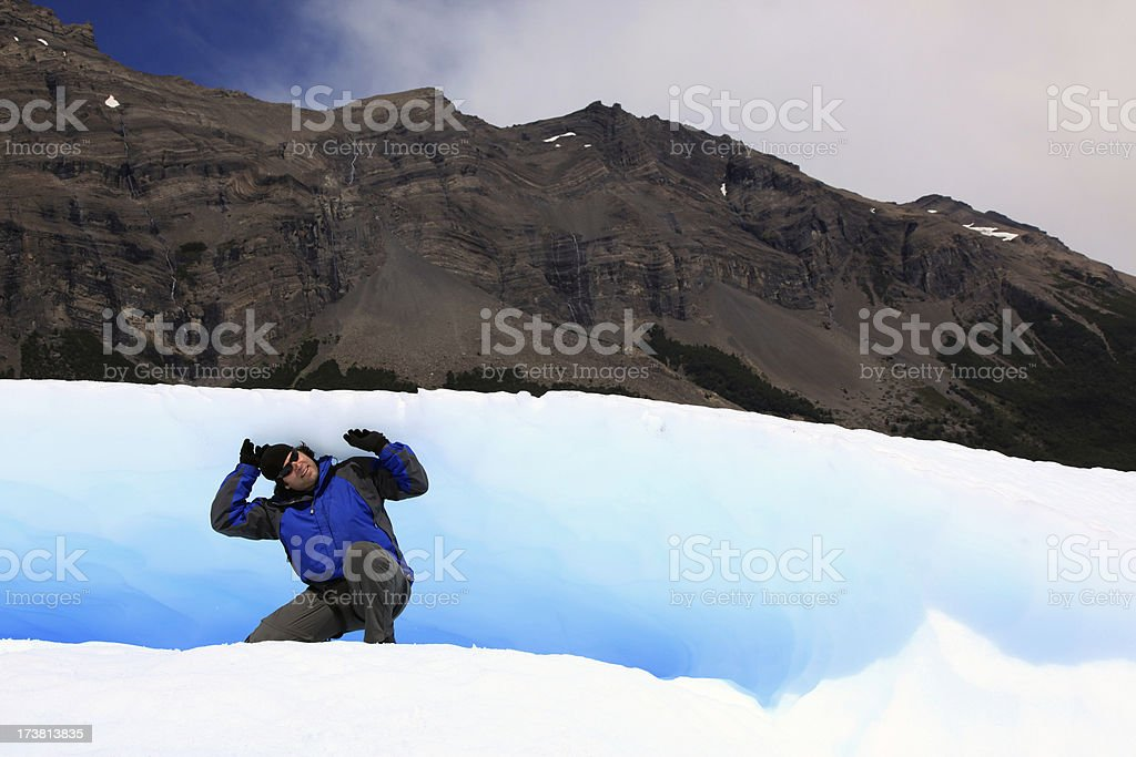 Man Holding a Glacier on His Shoulders royalty-free stock photo