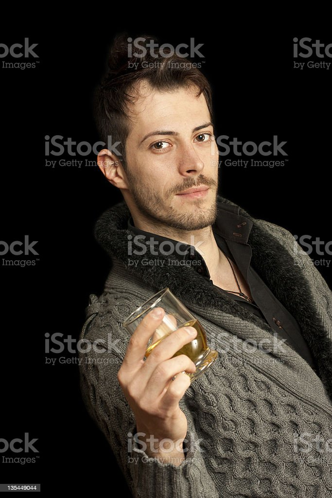 Man holding a glass royalty-free stock photo