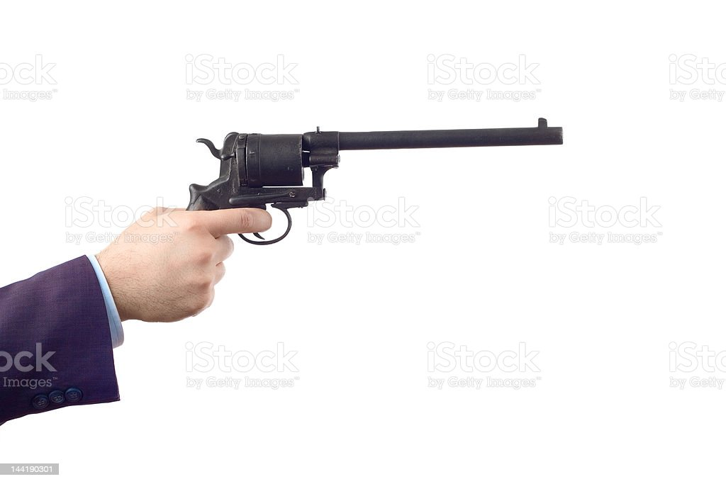 Man holding a gun (clipping path included) stock photo
