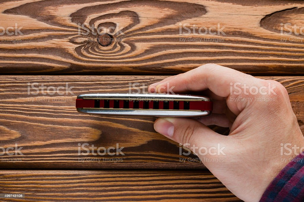man holding a harmonica with one hand stock photo