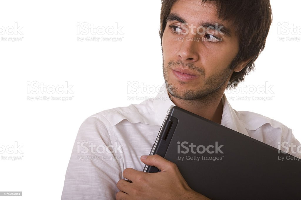 man holding a laptop royalty-free stock photo