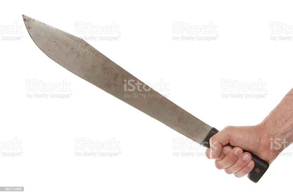 Man holding a machete stock photo