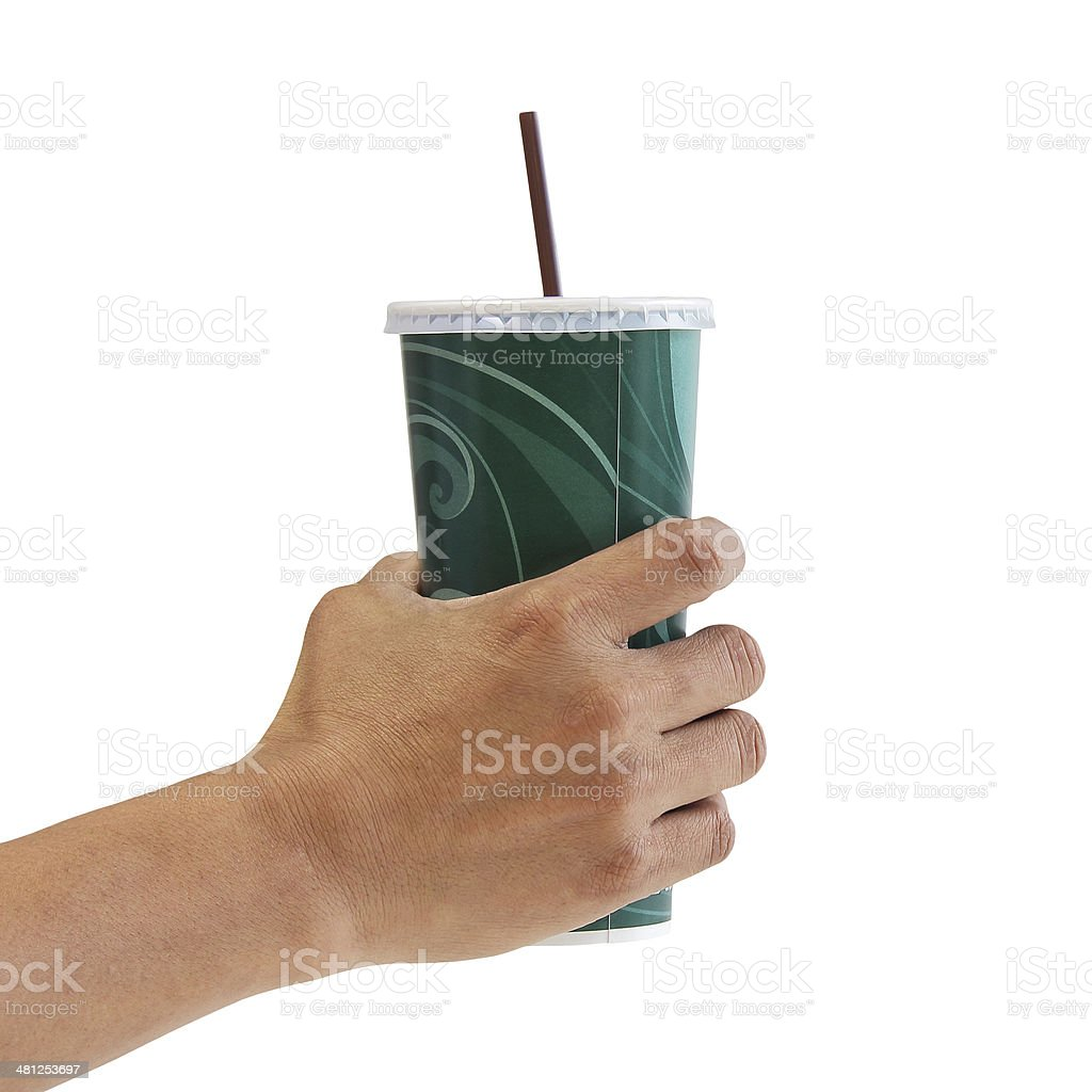 Man holding a paper cup with tube isolated over white stock photo