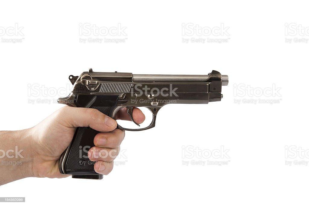 Man holding a pistol royalty-free stock photo