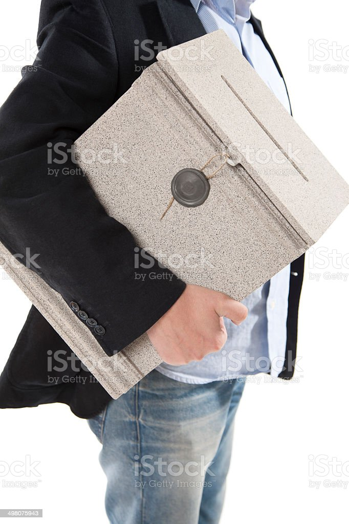 Man holding a postbox royalty-free stock photo