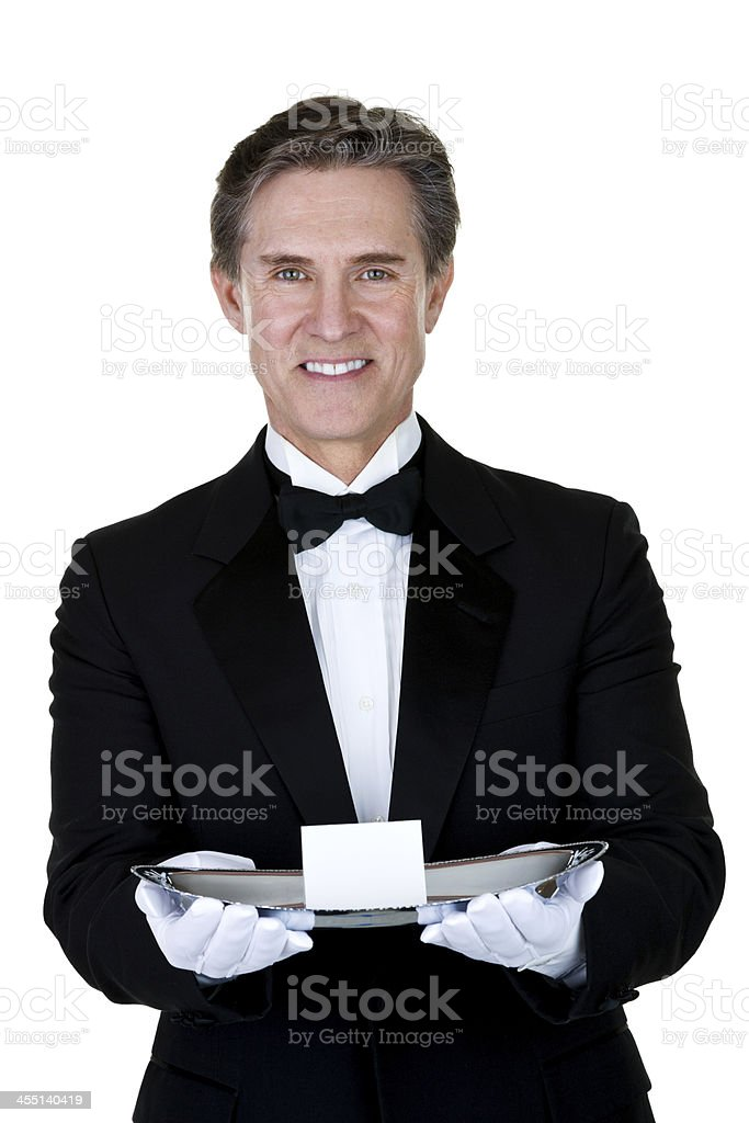Man holding a silver platter stock photo