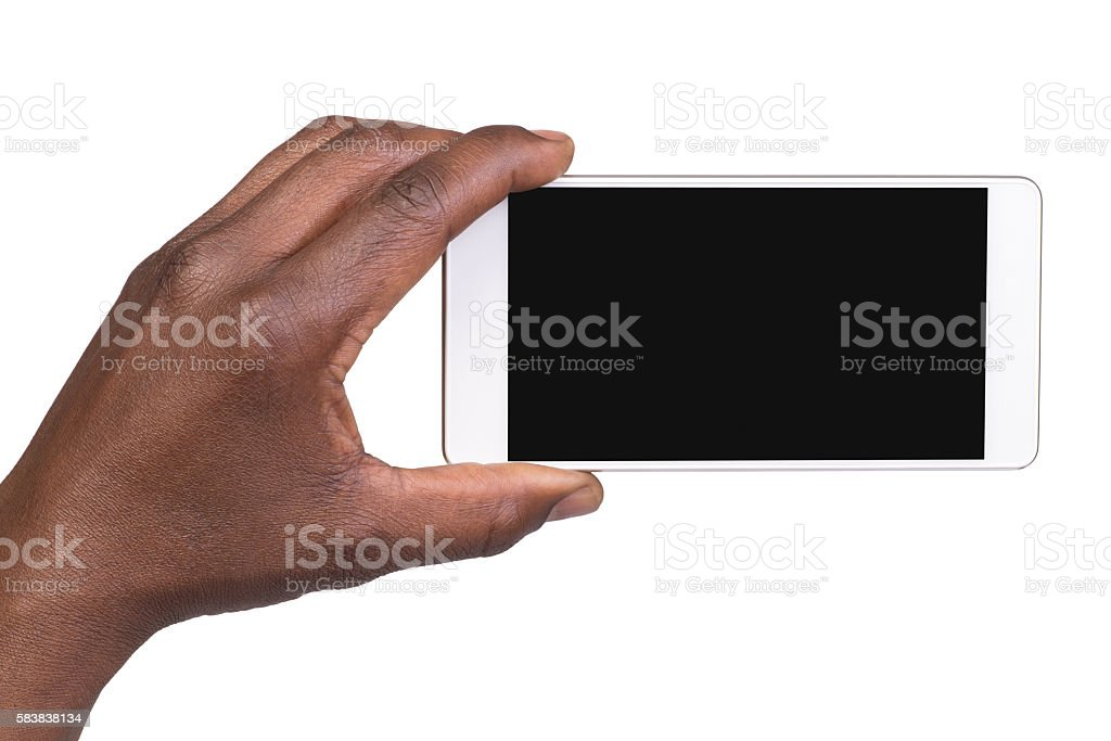 Man holding a smart phone stock photo