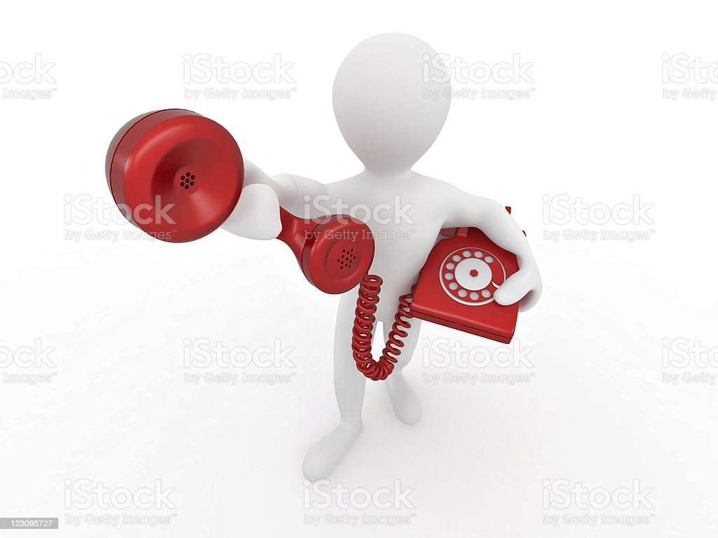 Man holding a telephone receiver royalty-free stock vector art