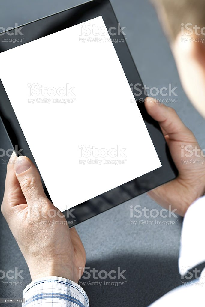 man holding a touchpad royalty-free stock photo
