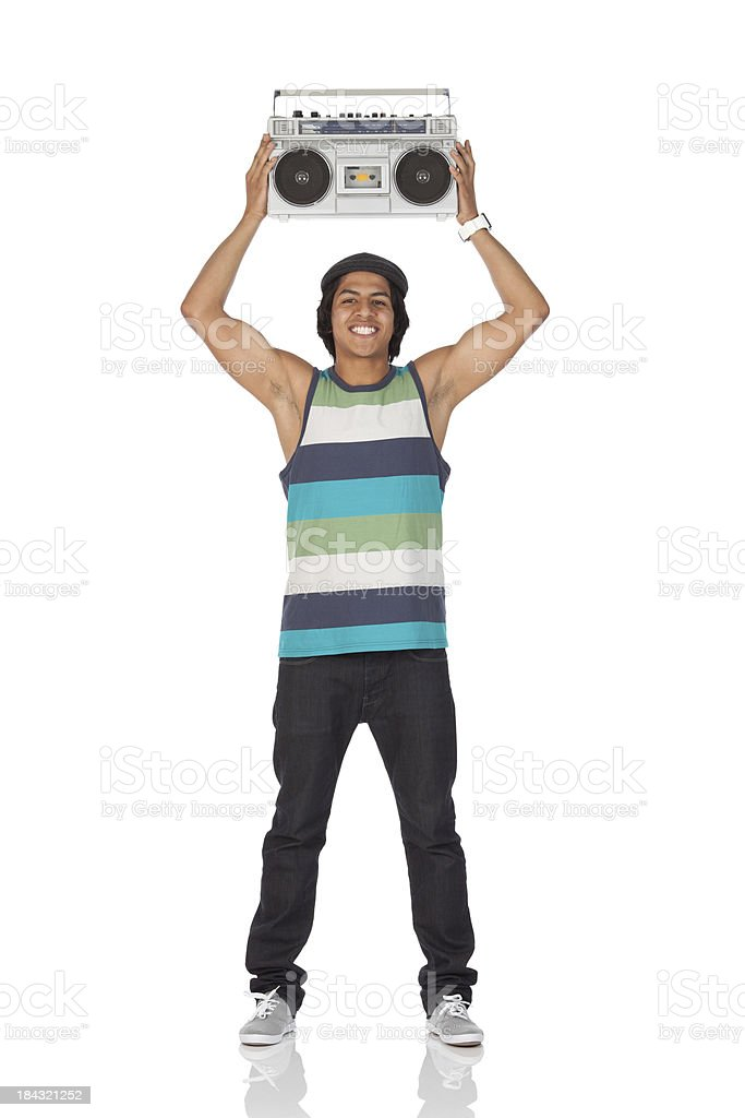 Man holding aloft a boom box stock photo
