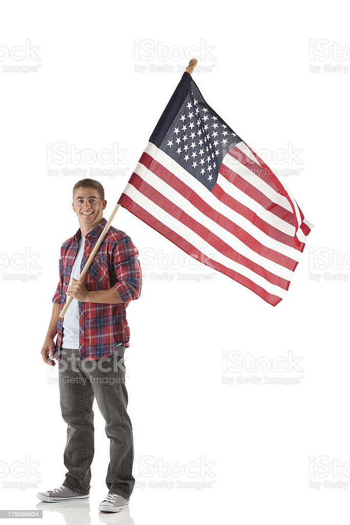 Man holding An american flag stock photo