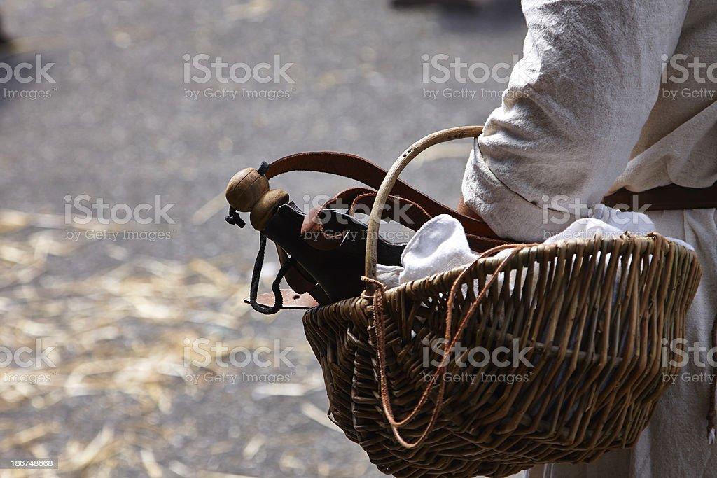 Man holding basket stock photo