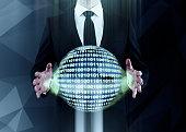 Man holding binary code sphere