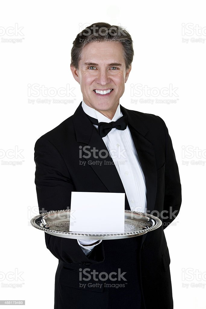 Man holding blank place card stock photo