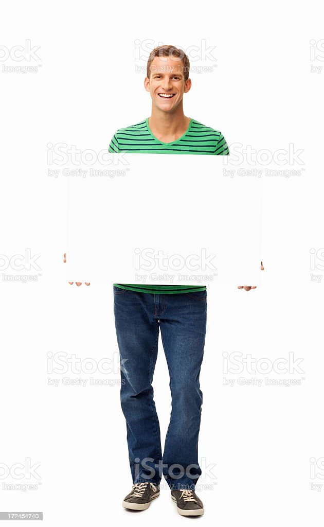Man Holding Blank Sign - Isolated royalty-free stock photo