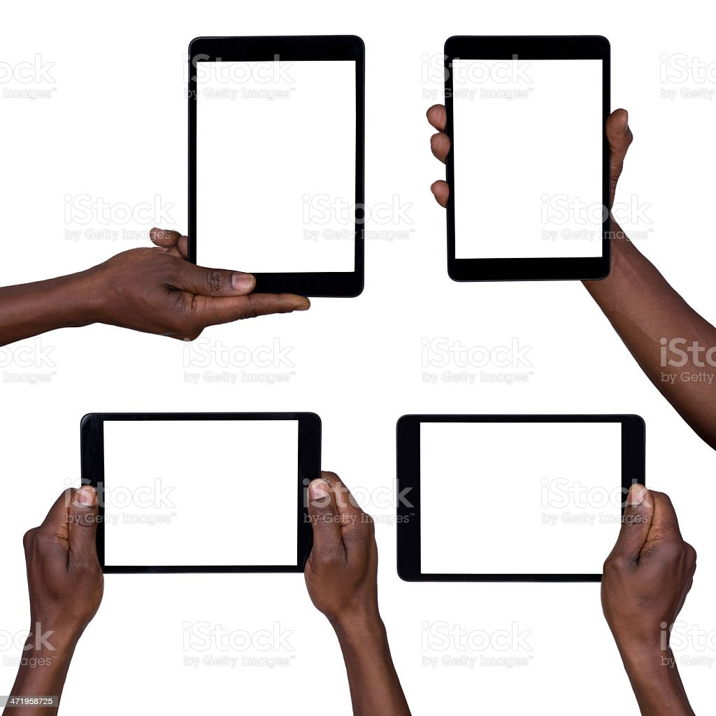 Man holding blank tablets stock photo