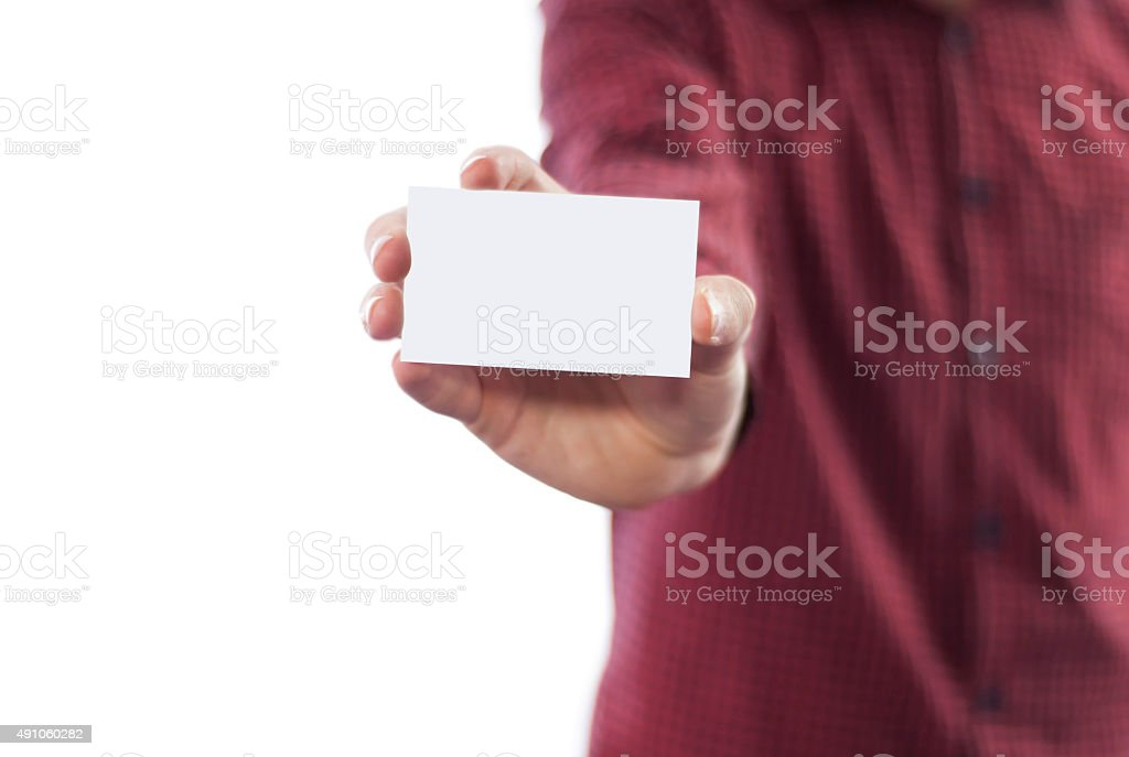 Man holding business card isolated on white stock photo