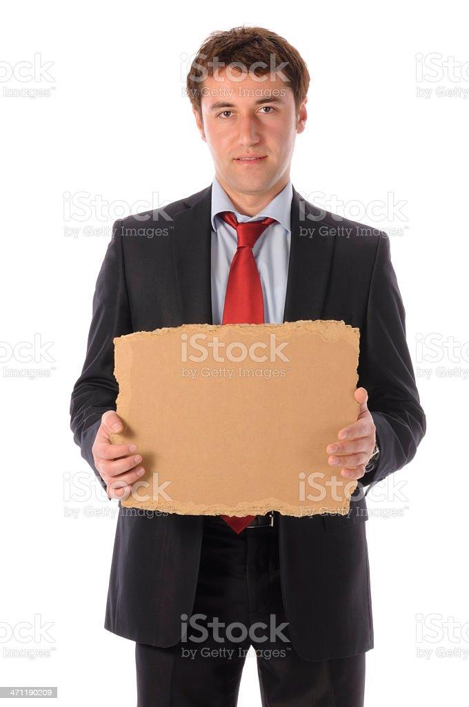 Man Holding Cardboard stock photo
