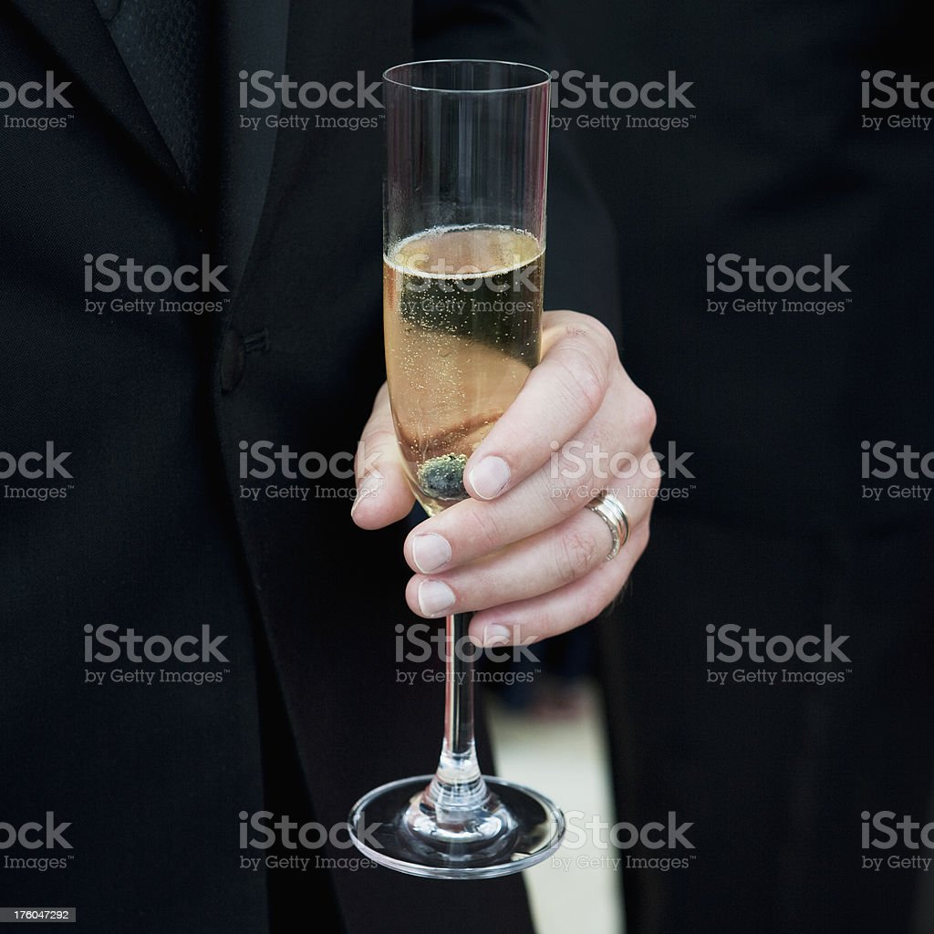 Man Holding Champagne royalty-free stock photo