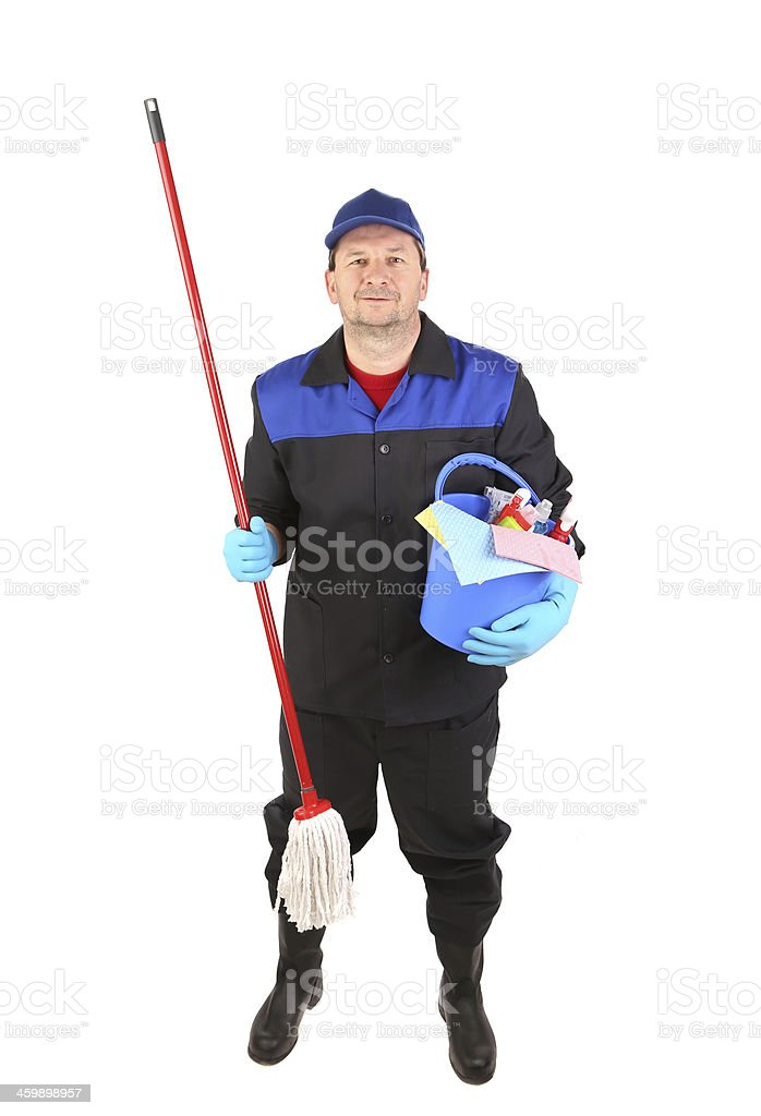 Man holding cleaning supplies. royalty-free stock photo
