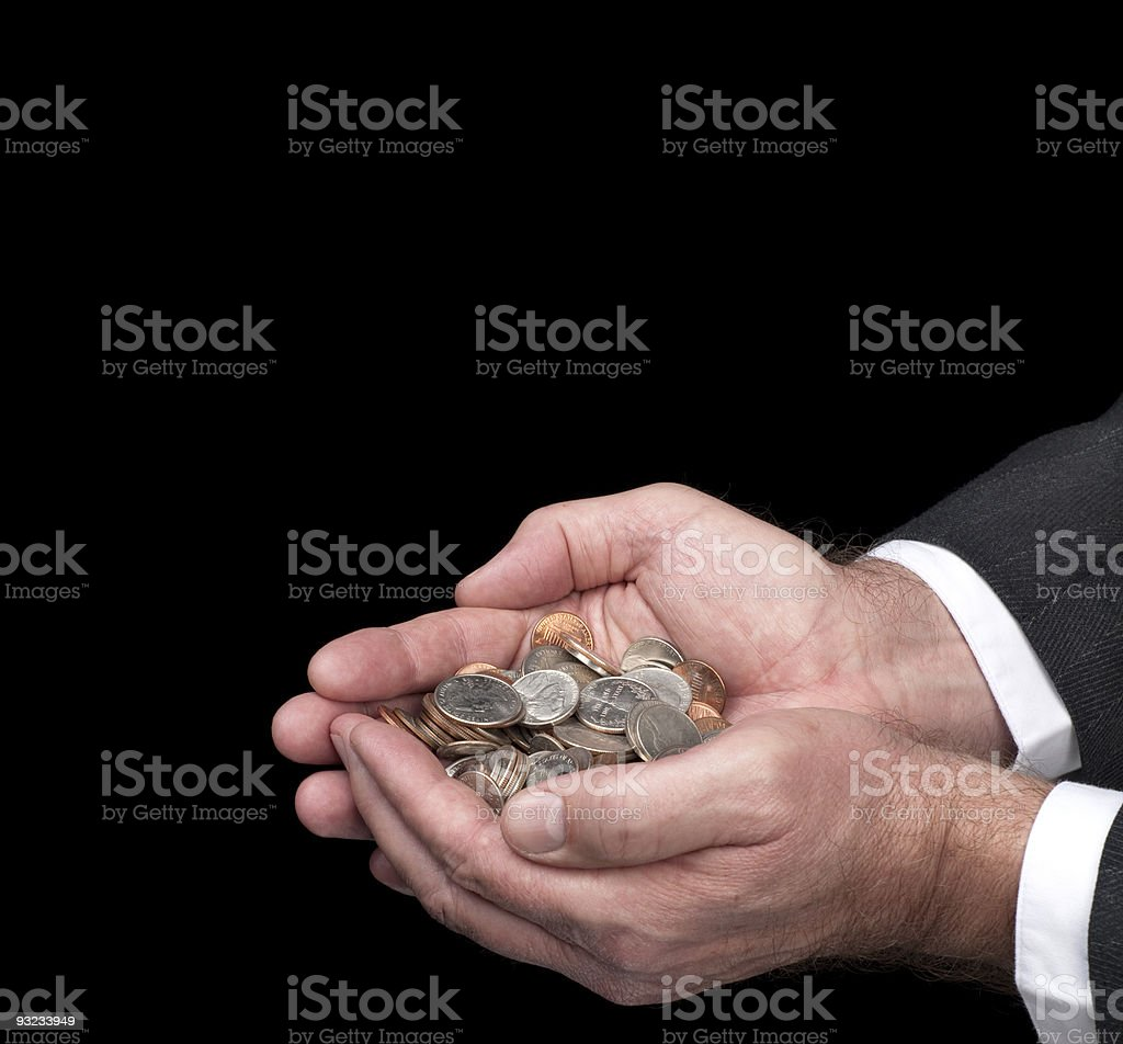 Man holding coins royalty-free stock photo