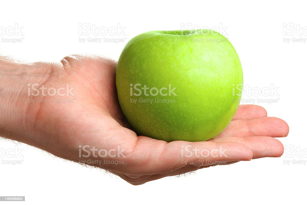 Man holding delicious green apple royalty-free stock photo