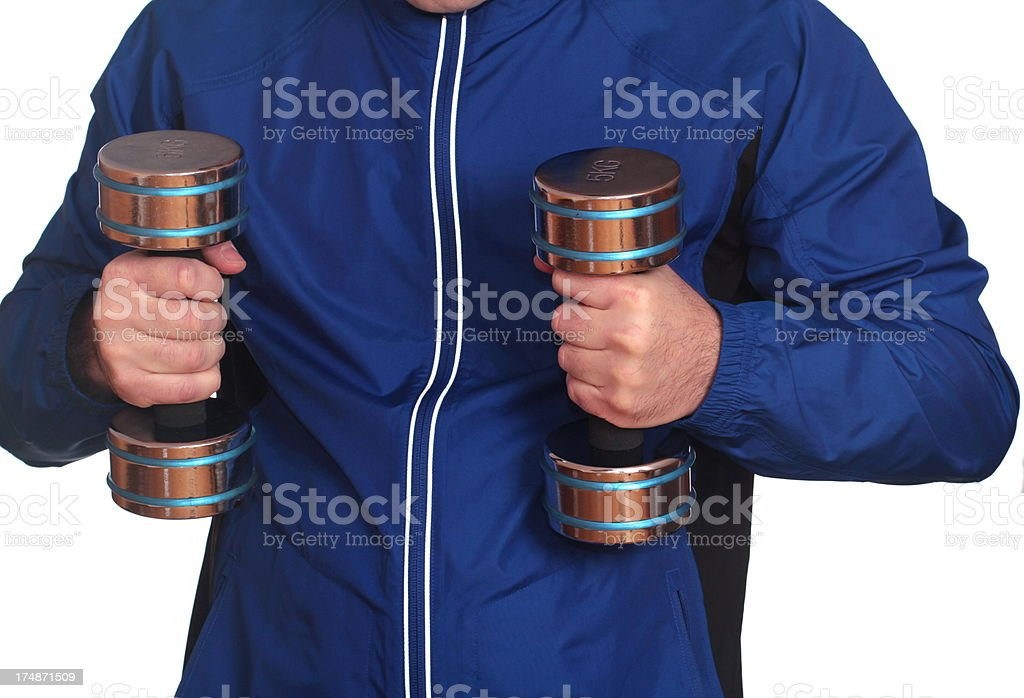man holding dumbell royalty-free stock photo